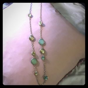 Jewelry - Gold necklace with green and yellow faux stones